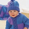 Cable and Block Knit Baby Sweater and Hat