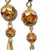 Beaded Copper-Colored Flower Earrings