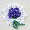 Crochet Violets Pin Floral Jewelry