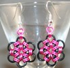 Pink and Black Chainmail Earrings