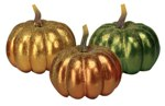 Trio of Glitter Pumpkins for Thanksgiving or Autumn Decor