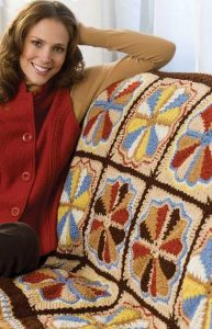 Multicolored Dresden Plate Crocheted Throw