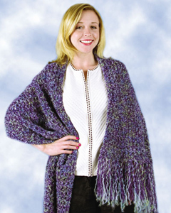 Easy Crochet Shawl Patterns Beginners : Purple Beginner Shawl FaveCrafts.com