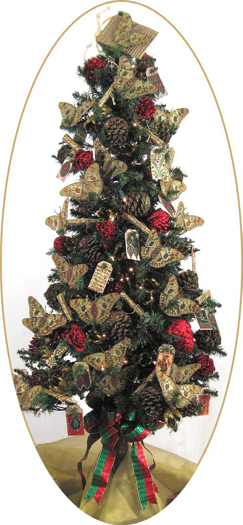 Christmas tree with decorated pine cones and fabric tag for How to make pine cone christmas tree ornaments