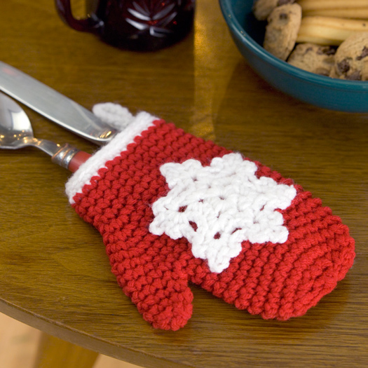 Crochet Free Patterns Christmas Ornaments : Snowflake Mitten Holiday Ornament Crochet Pattern from Red ...