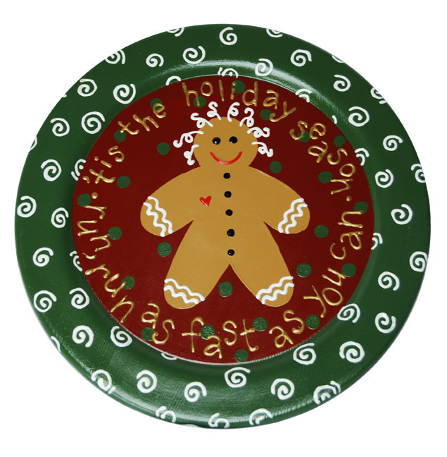 Gingerbread Man Painted Christmas Plate