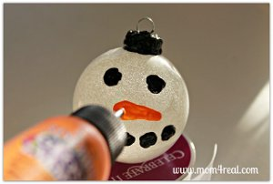 Glittered Snowman Ornament