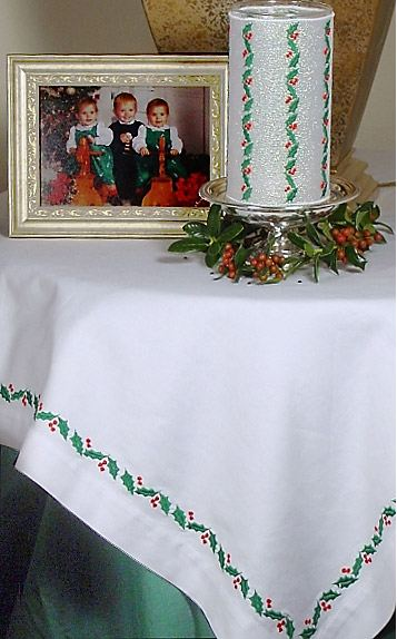 embroidered holly tablecloth from brother