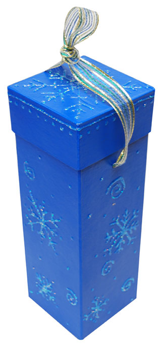 Snowflake Painted Wine Gift Box