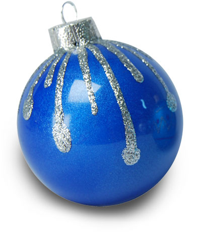 Silver Kissed Blue Christmas Ornament