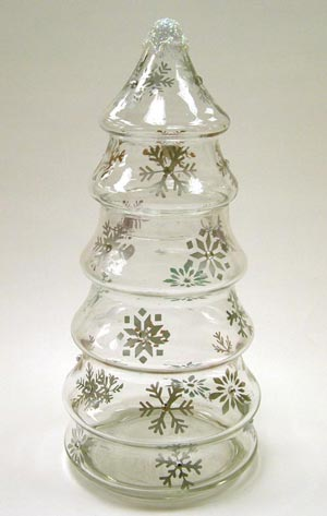 Glass Christmas Tree Candy Jar