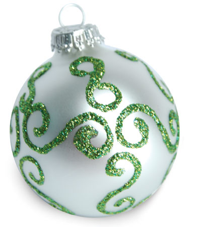 Green Sparkle Swirl Ornament