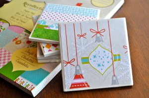 jingle bell tile coasters