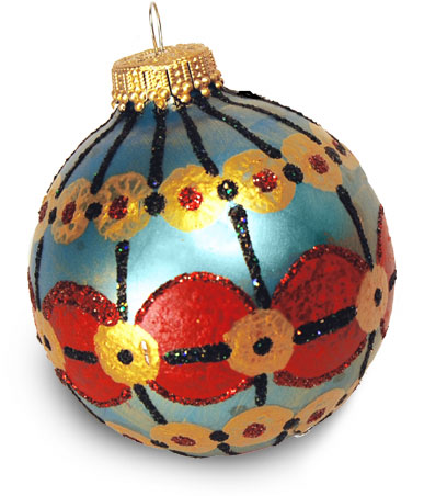 Ornate Red and Gold Painted Christmas Ornament