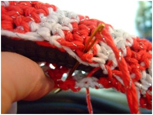 Crochet Candy Cane Steering Wheel Cover