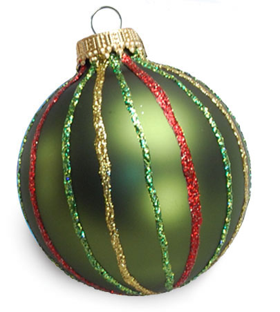 Striped Red Green and Gold Christmas Ornament
