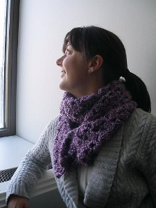 Asymmertry Scarf Using One Skein