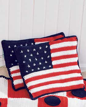 Crochet American Flag Cushions