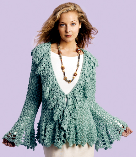 Crochet Jacket : around the hems this crochet sweater jacket is lovely in a bright yarn ...