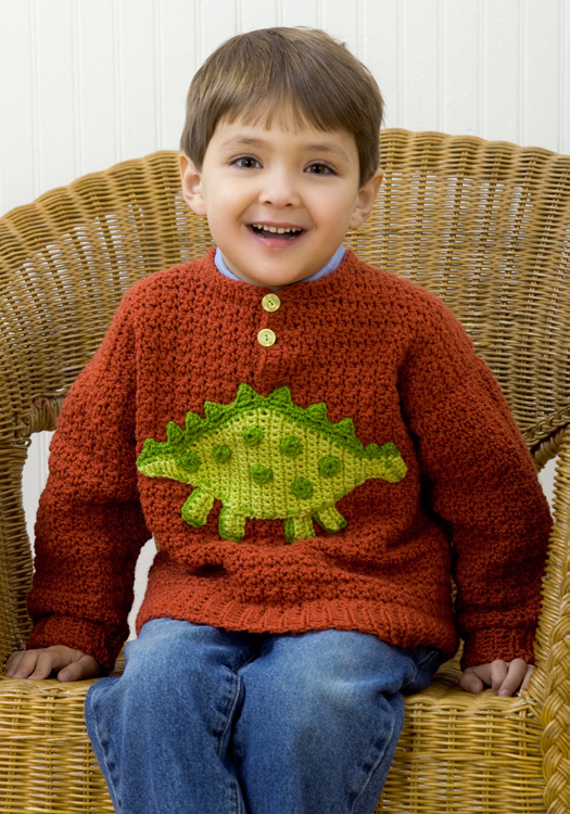 Dinosaur Sweater Crochet Pattern from Red Heart Yarn | FaveCrafts.com