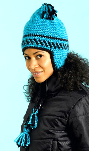Free Crochet Pattern 60422 Speed Hook Earflap Hat and Scarf Set