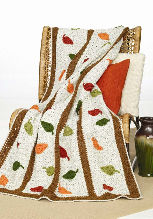 Crochet Falling Leaves Afghan Halloween Ideas and More: 6 New Patterns from Red Heart Yarn