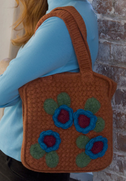 Crochet Felted Flower Bag