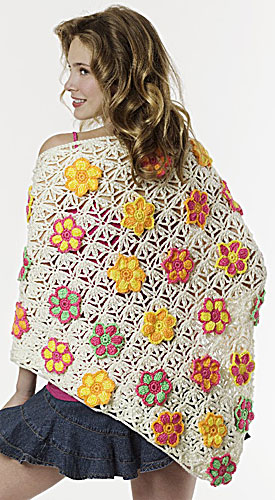 Flower Lace Shawl Crochet Pattern Favecrafts : Summer Floral Shawl Crochet Pattern from Caron Yarn ...