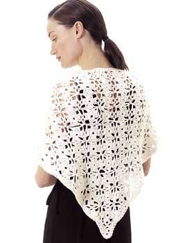 """Crochet Lacy Shawl"" Crocheted Las' Shawl Pattern by Coats and"