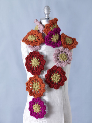 Crochet Flower Motif Scarf Crochet Flower Scarves