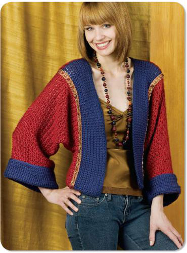 Embellished Kimono Jacket Crochet Pattern From Caron Yarn