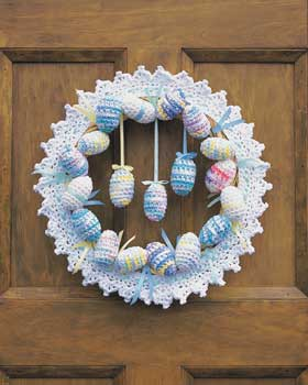Crochet Lace Easter Wreath