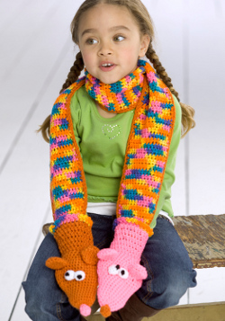 Hand Puppet Scarf Crochet Pattern from Red Heart Yarn  FaveCraftscom Crochet Animal Scarves For Kids