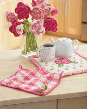 Crochet Rose Dishcloth and Potholder Pattern