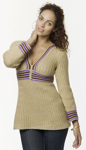 Empire Waist Stripe Tunic Crochet Pattern From Caron Yarn
