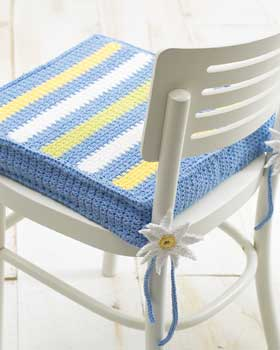 Crochet Striped Chair Pad