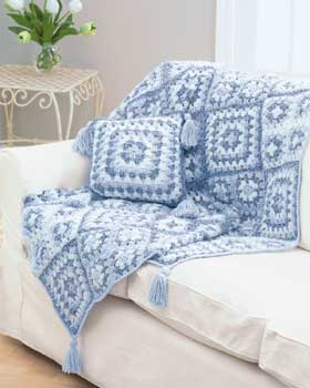 Denim Colors Granny Square Throw and Pillow