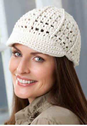 Free Crochet Pattern Beanie With Brim : Crochet Newsboy Hat Pattern FaveCrafts.com