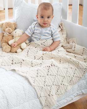 Crochet Baby Blanket Diamond Pattern : Best Darn Yarns: Mesh Diamond Baby Blanket Crochet Pattern