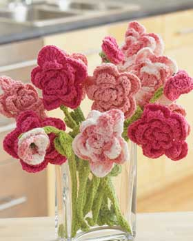 Pink Rose Crochet Bouquet