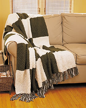 Textured Block Knit Afghan