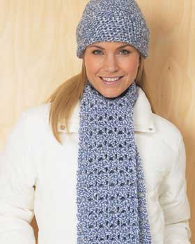 crochet blue scarf