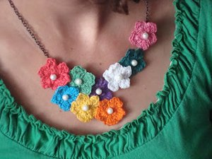 Beaded Crochet Wire Earrings - Petals to Picots