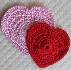 Red and Pink Crocheted Hearts