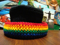 rainbow crochet hat
