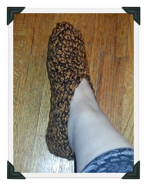 Sepia Tone Crocheted Slippers