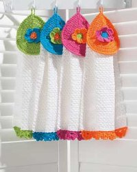 Crochet tea towel toppers - Baby Four All Seasons