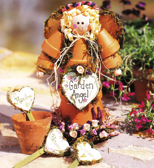 Doobie s doings clay pot garden angel craft