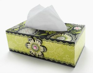 Dramatic Floral Decoupage Tissue Box