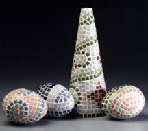 Mosaic Tile Tree and Egg Decorations